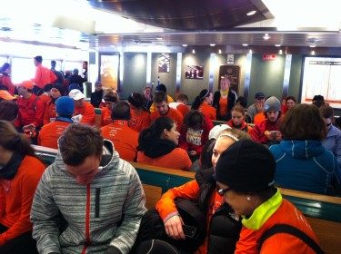The Orange-Clad Army on ferry number 2.
