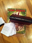 Posted on Twitter - Written word representations of my 3 current projects - The FARM STORY-book (a gift my sister gave me of a book from the late forties full of  farm stories for children), the novel of WITHIN ARM'S REACH, and the shooting script for THE JANE GAMES.